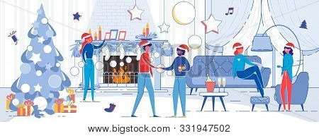 Winter Christmas Eve Men And Women, Relatives Or Friends Talking And Wishing Merry Holidays In Festi