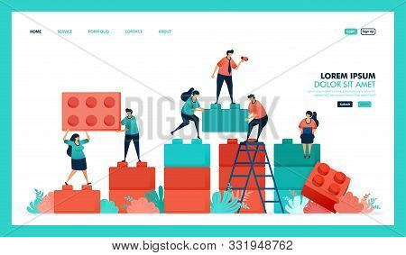 Vector Design Of Game, Lego, Business Chart. People Collaborate To Solving Problem, Complete Puzzle