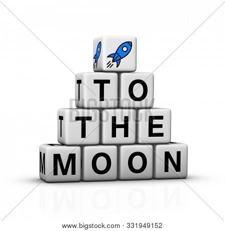 To the moon concept symbol with rocket icon. 3D render.