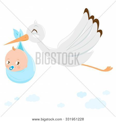 Vector Illustration Of A Stork Flying In The Sky And Delivering A Cute Newborn Baby Boy.