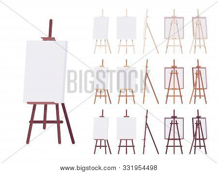 Wooden Easel Stand Set With Empty White Canvas. Art And Artist Studio Tripod Display For Amateur And