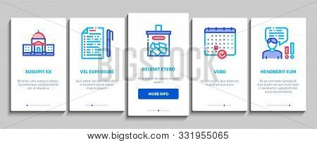 Voting And Election Onboarding Mobile App Page Screen Vector Thin Line. Congress Building And Monito