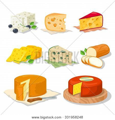 Big Set With Different Types, Assortment Of Cheeses Hard, Soft, With Mold, Spices, From Milk Of Cow,
