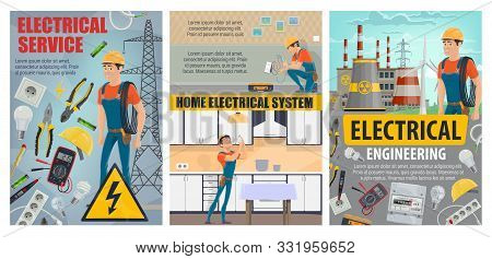 Home Electrical Service And Electricity Engineering Industry. Vector Electrician, Energy Power Gener