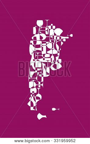 Countries Winemakers - Stylized Maps From Silhouettes Of Wine Bottles, Glasses And Decanters. Map Of