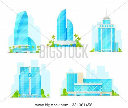 Business Centers Icons. Isolated Buildings, Exterior Design. Vector Tall Constructions And Towers Of
