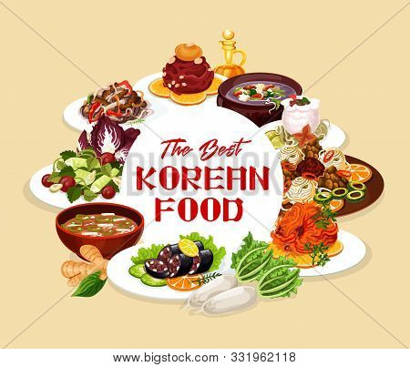 Korean Food Round Frame, Vector National Cuisine Of Korea Dishes. Vector Dried Pollack In Hot Sauce,