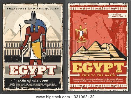 Egypt Retro Treasures And Antiques, Trip To Oasis And Land Of Gods. Vector Anubis Egyptian God And C
