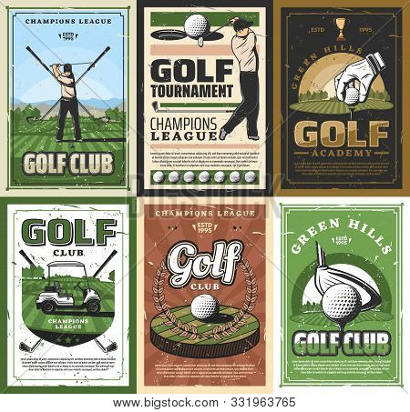 Golf Club Retro Sport Golfing Game Items. Vector Golfer, Crossed Sticks And Ball, God Trophy Playing