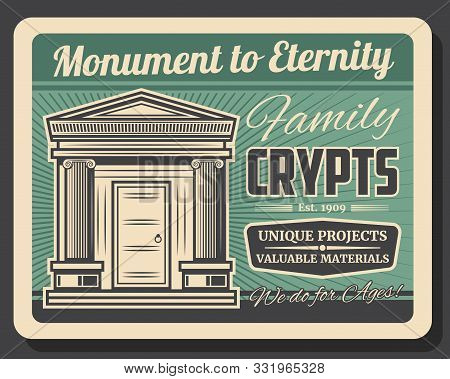 Family Crypts, Retro Monuments To Eternity. Vector Funeral Service Agency, Burial Vintage Charnel Ho