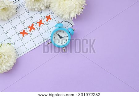 Blue Alarm Clock And White Flowers On Menstrual Period Calendar With Red Cross Marks