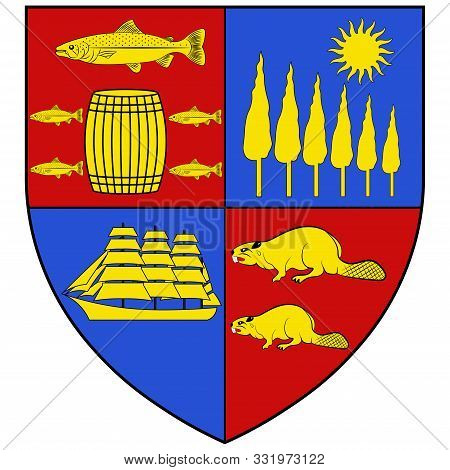 Coat Of Arms Of Saint John Is A Port City On The Bay Of Fundy In The Canadian Province Of New Brunsw