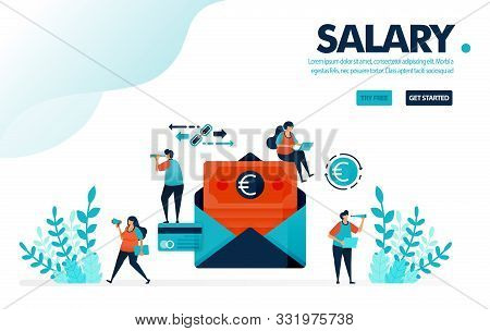 Vector Illustration Safe Payroll Envelope Payment. People Are Waiting For Monthly Salary Payments. C