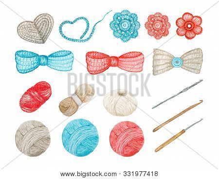 Crochet Shop Concept Of Hooks, Ball Of Yarn, Crocheted Heart, Bow, Hook, Flowers. Clipart Of Blue Re