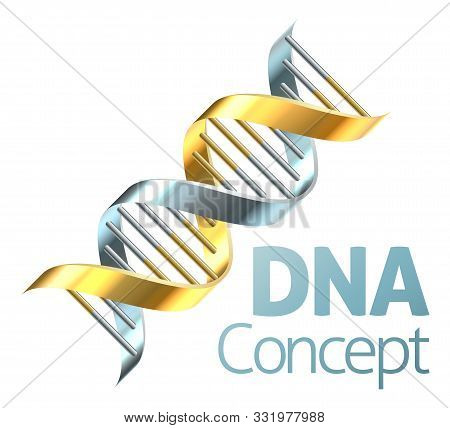 A Double Helix Dna Chromosome Strand In Gold And Silver Genetics Concept