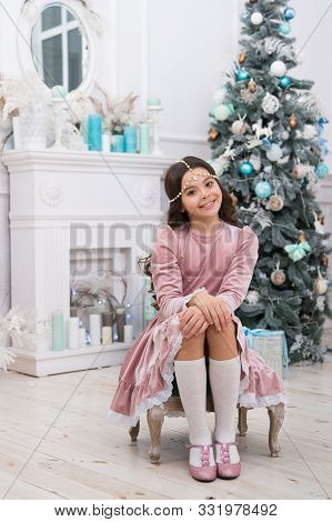 Dreams Come True. Hope Concept. Dreamy Baby Christmas Wish. Making Wish. Waiting For Santa Claus. Ad