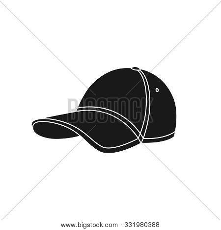 Baseball Cap Icon. Graphic Sign Baseball Cap. Black Symbol Baseball Cap Isolated On White Background