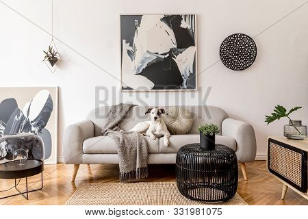 Stylish And Scandinavian Living Room Interior Of Modern Apartment With Gray Sofa, Design Wooden Comm