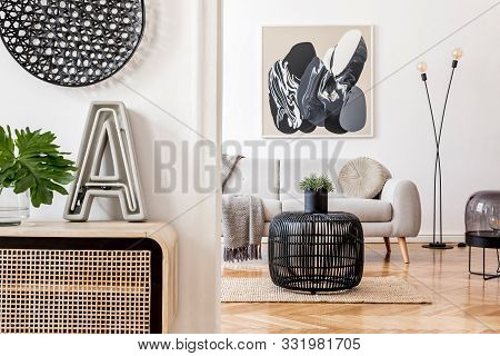 Stylish Scandinavian Living Room Interior With Modern Sofa, Wooden Commode, Stylish Lamps, Plants, R