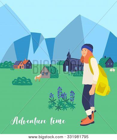 Mountain Hiking Flat Vector Illustration. Female Tourist Cartoon Character. Wandering Woman. Tour Ab