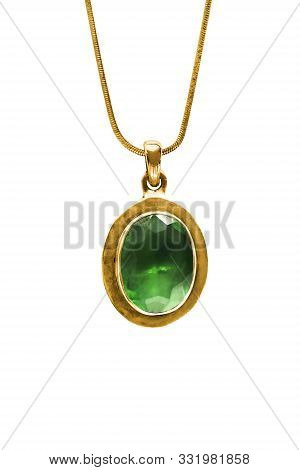 Vintage Large Emerald Pendant Hanging On Gold Chain Isolated Over White