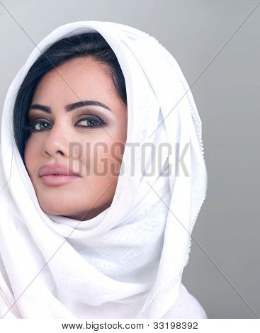 sensual portrait of a fresh beauty arabian girl with hijab poster