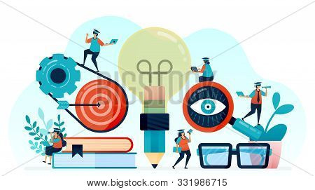 Vector Illustration Of Idea And Inspiration In Student Learning, Pencil With Lightbulb Idea, Learn T