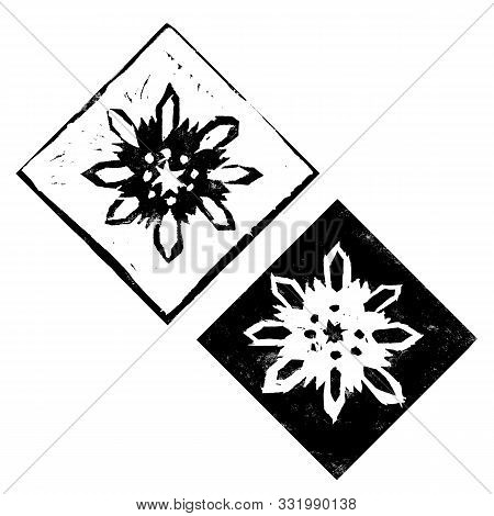 Abstract Composition With Black Christmas Decorations Of Snowflakes Isolated On White Background. Ha