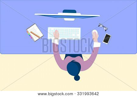 Man Sitting At The Wooden Table. Workplace Desktop Workspace Armchair, Office Supplies, Monitor, Not