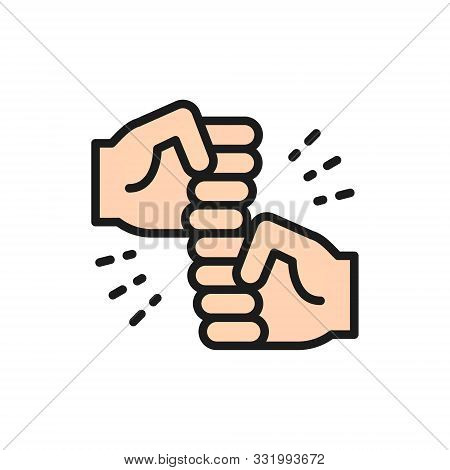 Friendly Gestures, Joyous Punches Flat Color Line Icon.