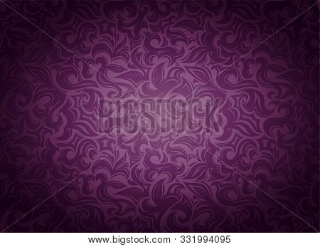 Damask Vintage Violet, Marsala, Purple Background With Floral Elements In Gothic, Baroque Style. Roy