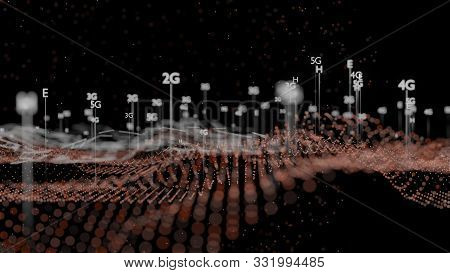Abstract 3d Illustration Represent 5g, 4g, 3g, 2g Mobile Technology. Dark Background, Plexus, Dof Ef