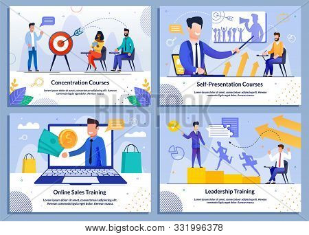 Business Vector Banner Flat Set For Company And Personnel Growth. Cartoon Businessmen Receiving Know