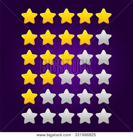 Set Of Shiny Star Ratings For Mobile Games.
