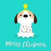 Merry Christmas dog fir tree shape. Garland lights bulb string Star. Puppy pooch sitting. Funny Kawaii animal Kids print. Cute cartoon baby character. Pet collection Flat design Blue background Vector poster