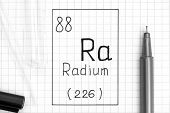 The Periodic table of elements. Handwriting chemical element Radium Ra with black pen, test tube and pipette. Close-up. poster