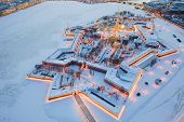 Evening winter aerial view, Peter and Paul Fortress, Neva river, Saint Petersburg, Russia poster