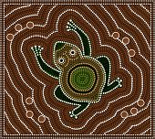 A illustration based on aboriginal style of dot painting depicting toad poster