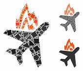 Airplane fire mosaic of unequal parts in variable sizes and color tinges, based on airplane fire icon. Vector rough parts are united into mosaic. Airplane fire icons collage with dotted pattern. poster