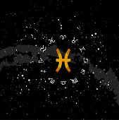 constellation Pisces of the zodiac. Zodiac signs set of illustrations on the background of a starry sky. constellation was his symbol and the name poster