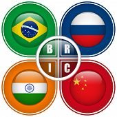 Vector - BRIC Countries Buttons Brazil Russia India China poster
