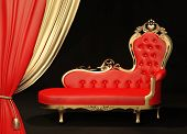 Royal red sofa with gold frame. Curtain. poster