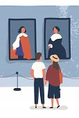 Young couple contemplate classical paintings in museum. Exhibition visitors enjoy exposition. Man and woman viewing showpieces in art gallery. Vector illustration in flat cartoon style. poster