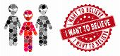Collage alien group and rubber stamp watermark with I Want to Believe text. Mosaic vector is formed with alien group icon and with scattered circle spots. I Want to Believe stamp uses red color, poster