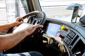 Truck Drivers Big Truck Of Drivers Hands On Big Truck Steering Wheel