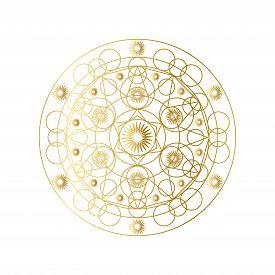 Golden Abstract Geometric Mandala Outline Vector Illustration