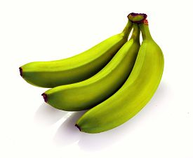 Bananas Isolated On White. Bunch Of Bananas Isolated On White Background. Green Bananas