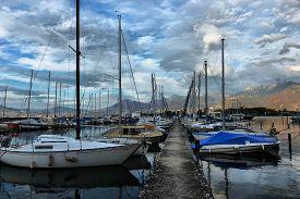Swiss, Lake Geneva, 21, October, 2017,yachts On Autumn Parking Lot On Lake Geneva, Swiss, Lake Genev