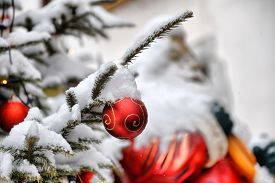 Close-up Of Colorful Xmas Balls Under Snowflakes In Snow With Christmas Tree In Background. Christma