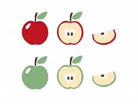 Apple Icon Set In Modern Flat Design. Apple Symbol In Red And Green With A Leaf. Half And A Slice Of